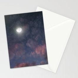 Glowing Moon on the night sky through pink clouds Stationery Cards