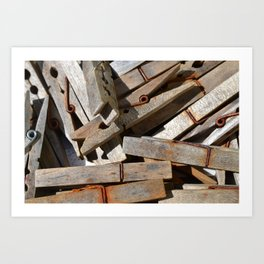 Wooden Pegs Art Print