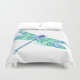 Tribal Dragonfly Blues and Greens Duvet Cover