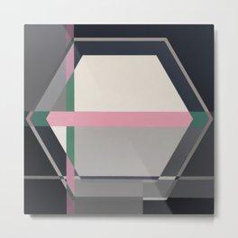 Green line -hexagon graphic Metal Print