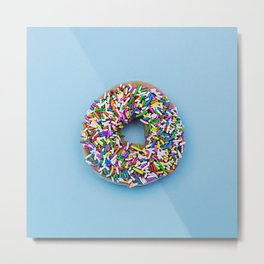 Hyperreal Sprinkled Donut on Blue Metal Print
