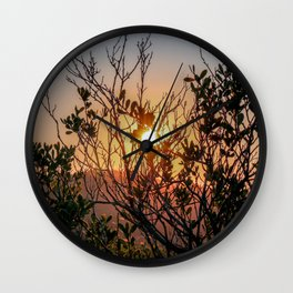 Sunset through the trees Wall Clock