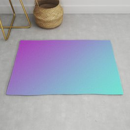 Dark Magenta Pink Purple and Light Cyan Aqua Blue Green Gradient Ombré Rug