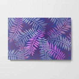 Violet pink palm leaves pattern Design #leaves Metal Print