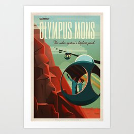 SpaceX Mars tourism poster / Olympus Mons Art Print