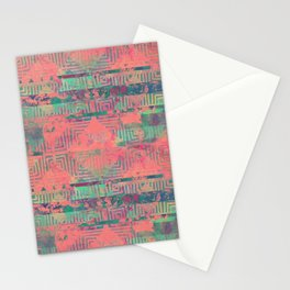 Abstract Coral and Aqua Tribal Stationery Cards