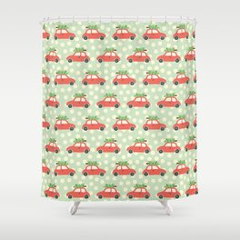 Fun Christmas Cars And Christmas Trees Holiday Pattern Shower Curtain