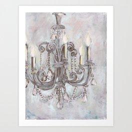 Silver Chandelier Art Print