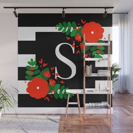 S - Monogram Black and White with Red Flowers Wall Mural