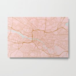 Pink and gold Glasgow map Metal Print