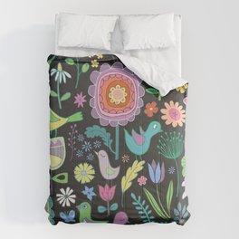 Birds & Blooms - Pastels on Black Comforters