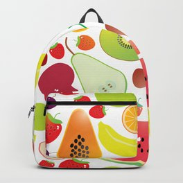 Healthy lifestyle. Fruits on white background Backpack