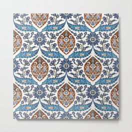 Iznik Tile Pattern Blue White Brown Metal Print