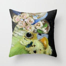 Parakeet Hat Parade #6 Patience Throw Pillow