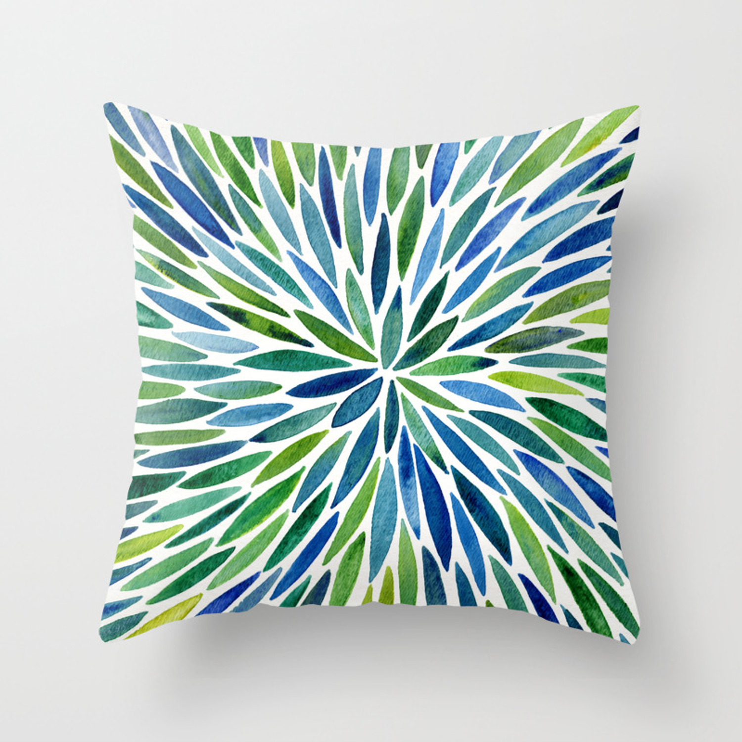 Watercolor Burst Blue Green Throw Pillow By Catcoq Society6