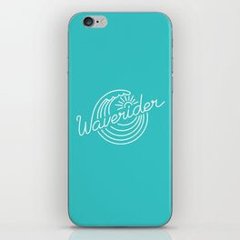 Waverider - white on teal iPhone Skin