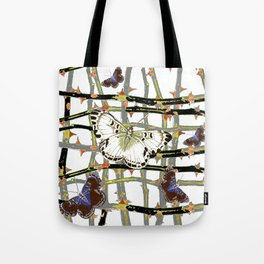 MOTHS ABSTRACT ON BLACKTHORNE LATTICE Tote Bag