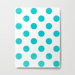 Large Polka Dots - Cyan on White Metal Print