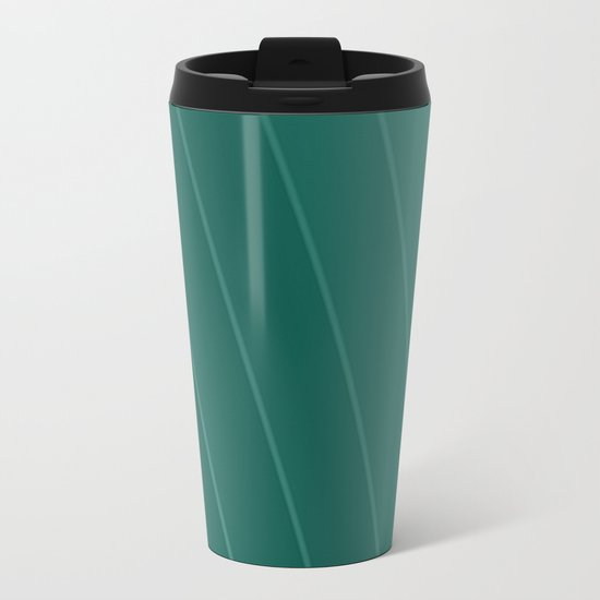 green lines Metal Travel Mug