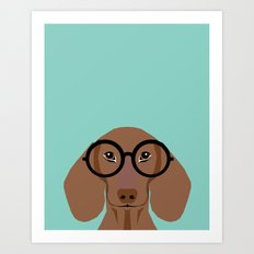 Remy - Daschund with Fashion glasses, hipster glasses, hipster dog, doxie,  Art Print