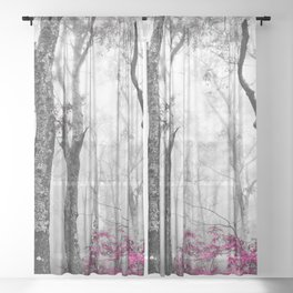 Princess Pink Forest Garden Sheer Curtain