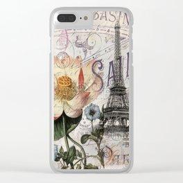 french scripts lotus floral vintage paris eiffel tower Clear iPhone Case