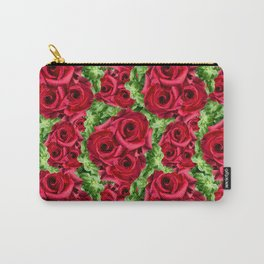Crimson Red Roses Romantic Flowers Carry-All Pouch