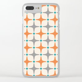 Mid Century Modern Star Pattern Grey and Orange Clear iPhone Case