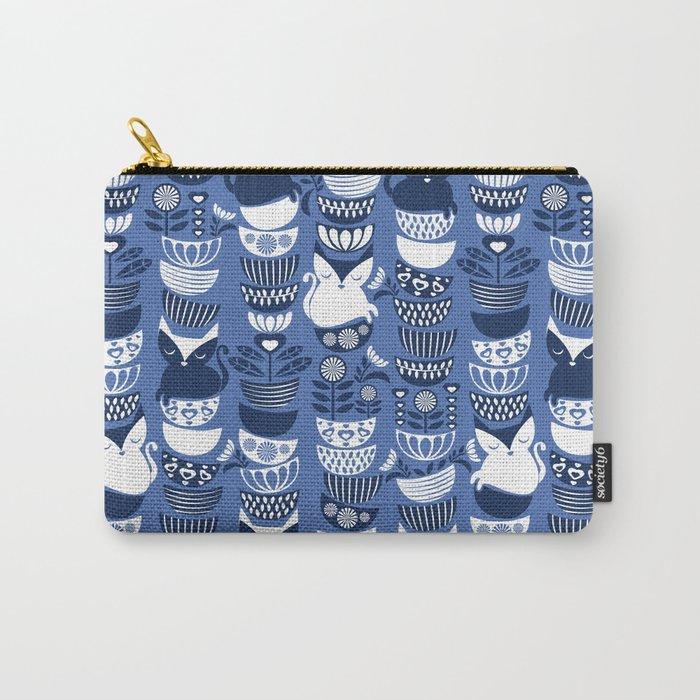 Swedish folk cats I // Indigo blue background Carry-All Pouch