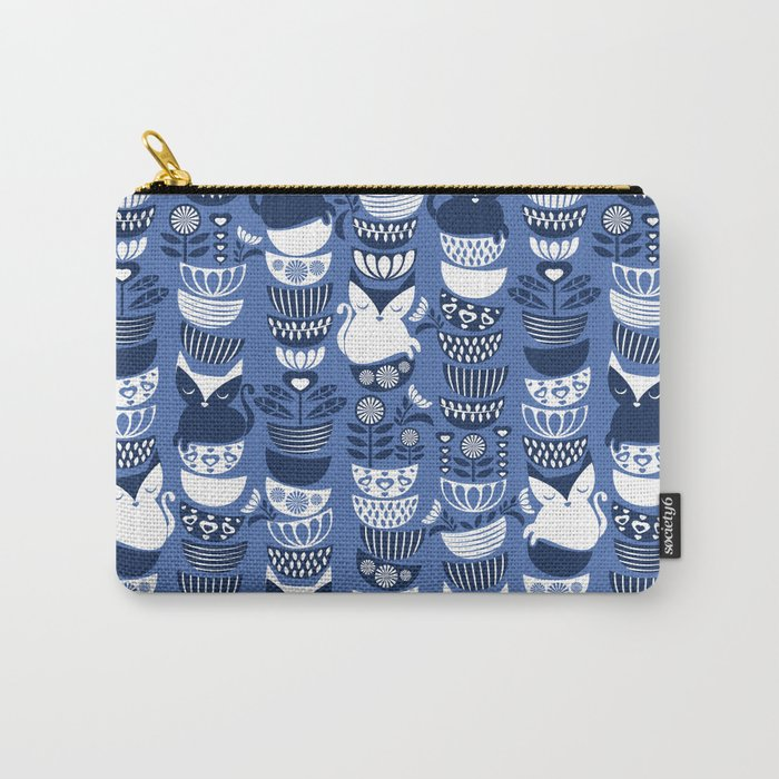 Swedish folk cats I // Indigo blue background Carry-All Pouch
