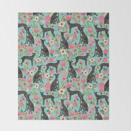 Italian Greyhound pet friendly pet portraits dog art custom dog breeds floral dog pattern Throw Blanket