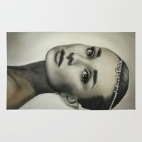 hepburn Area & Throw Rugs featuring Audrey Hepburn by Claire Lee Art