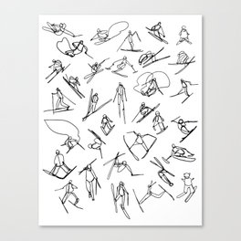 Skiers :: Single Line Canvas Print