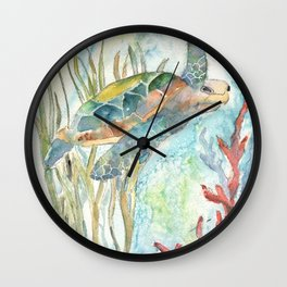 Underwater Fantasy Sea Turtle Wall Clock