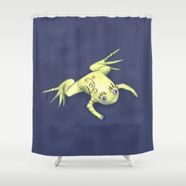Funny Frog With Fancy Eyelashes Digital Art Shower Curtain