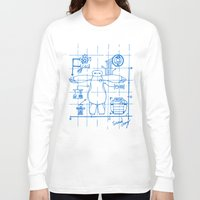 blueprint Long Sleeve T-shirts featuring Baymax Blueprint by SamyyChang