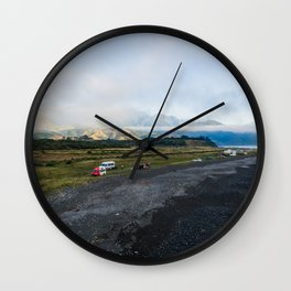 kaikoura ocean side camping mountains panorama scenic view new zealand Wall Clock