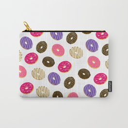 Modern cute pastel hand drawn donuts pattern food illustration Carry-All Pouch