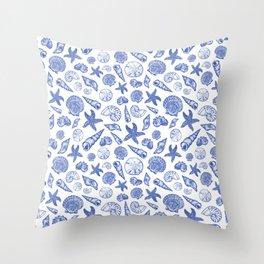 Blue Seashell Print Throw Pillow