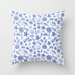 Blue Seashell Print Throw Pillow