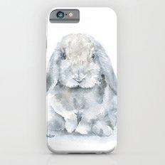 Mini Lop Gray Rabbit Watercolor Painting iPhone 6 Slim Case
