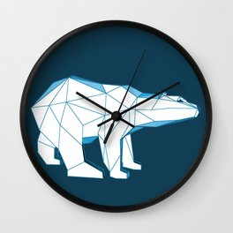 Blue geo polar bear looking for love.. Wall Clock