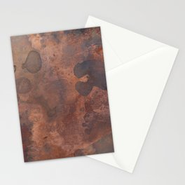 Tarnished, Stained and Scratched Copper Metal Texture Industrial Art Stationery Cards
