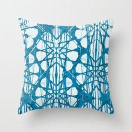 Blue and White Batik  Throw Pillow