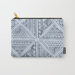 Simply Tribal Tile in Indigo Blue on Sky Blue Carry-All Pouch