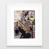 louis armstrong Framed Art Prints featuring Louis Armstrong by Cwilwol