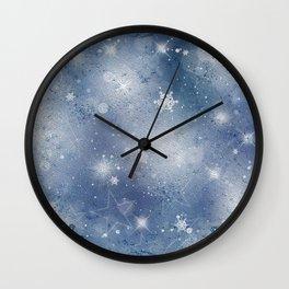 Silver blue snowflakes Wall Clock