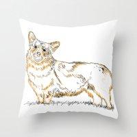 corgi Throw Pillows featuring Corgi!!!! by katieWalkerDesigns