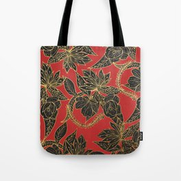 Bright red black gold oriental floral Tote Bag