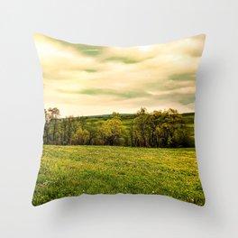 Green Beautiful Meadow Yellow Flowers Throw Pillow